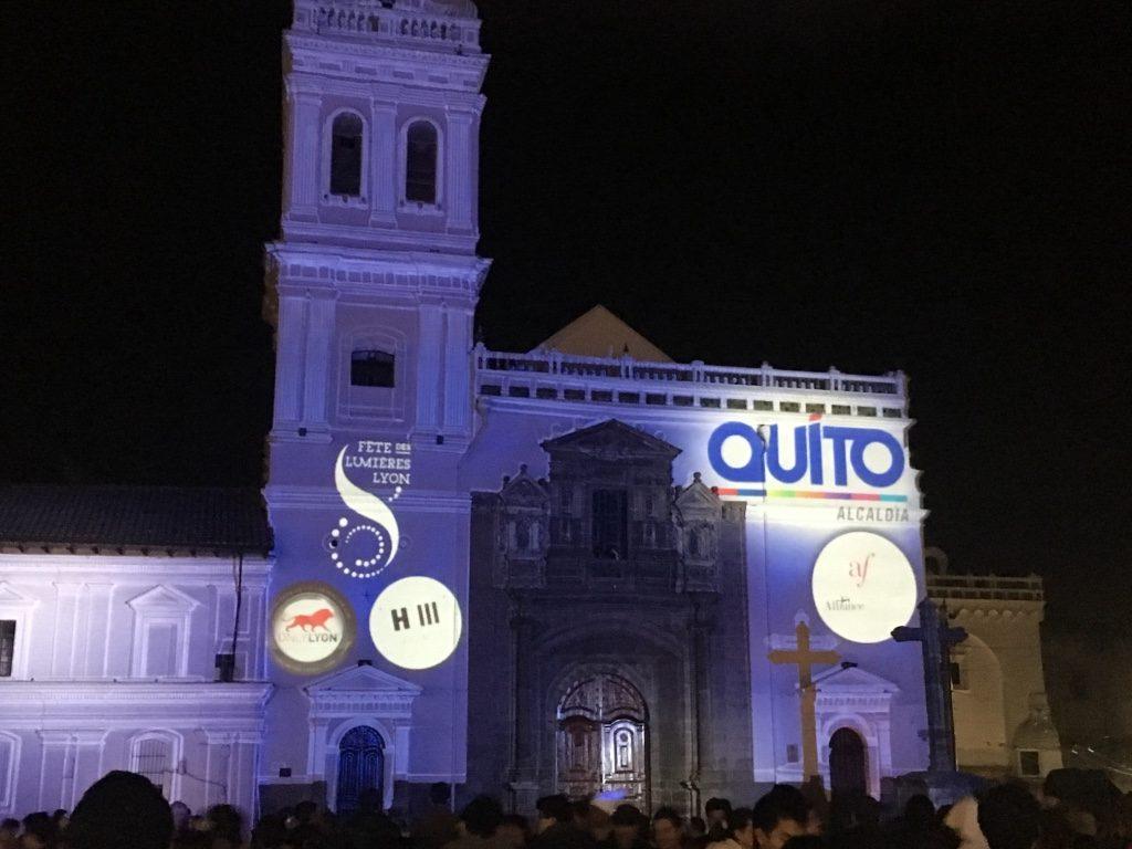 Fiesta de la luz à Quito, centre historique, patrimoine de l'UNESCO,