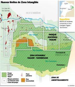Les zones d'exploitation pétrolière et la zone intouchable d'Amazonie, mise à mal par le gouvernement actuel . Crédit: Eluniverso