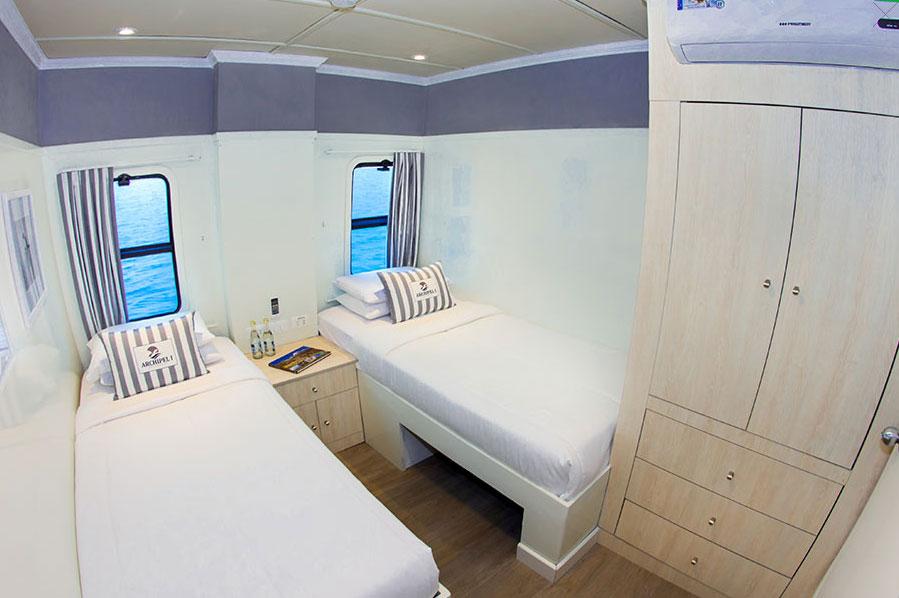 Croisière Archipel I Galapagos, cabine lits jumeaux