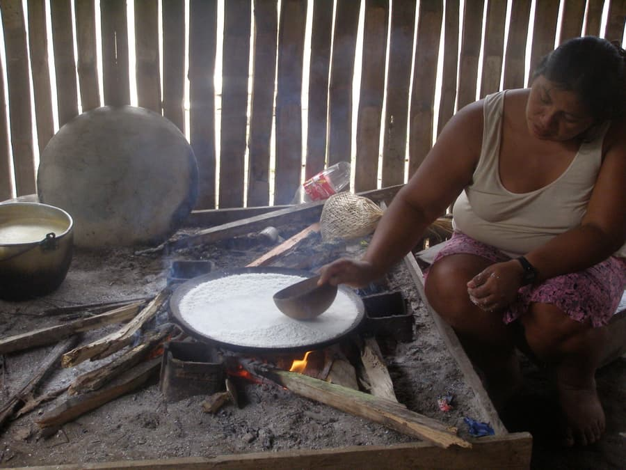 Hôtel Cuyabeno Lodge situé en Amazonie primaire, dans la réserve Cuyabeno, Equateur, fabrication d'une galette de manioc dans la communauté Achuar