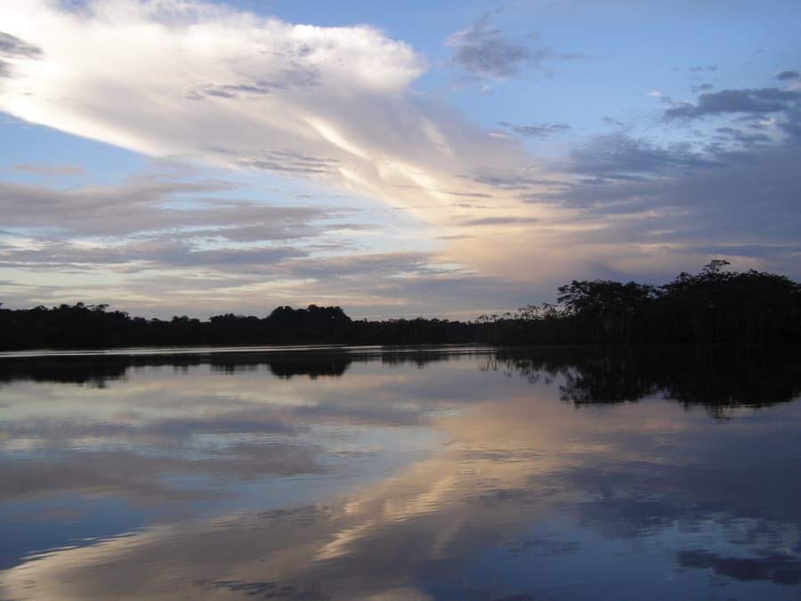 Hôtel Cuyabeno Lodge situé en Amazonie primaire, dans la réserve Cuyabeno, Equateur, vue sur la lagune