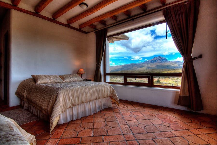 Hôtel Hacienda Los Mortiños, Parc Cotopaxi, Equateur, chambre double lits jumeaux