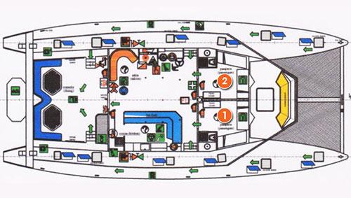 Croisière Galapagos Nemo III, plan du pont supérieur