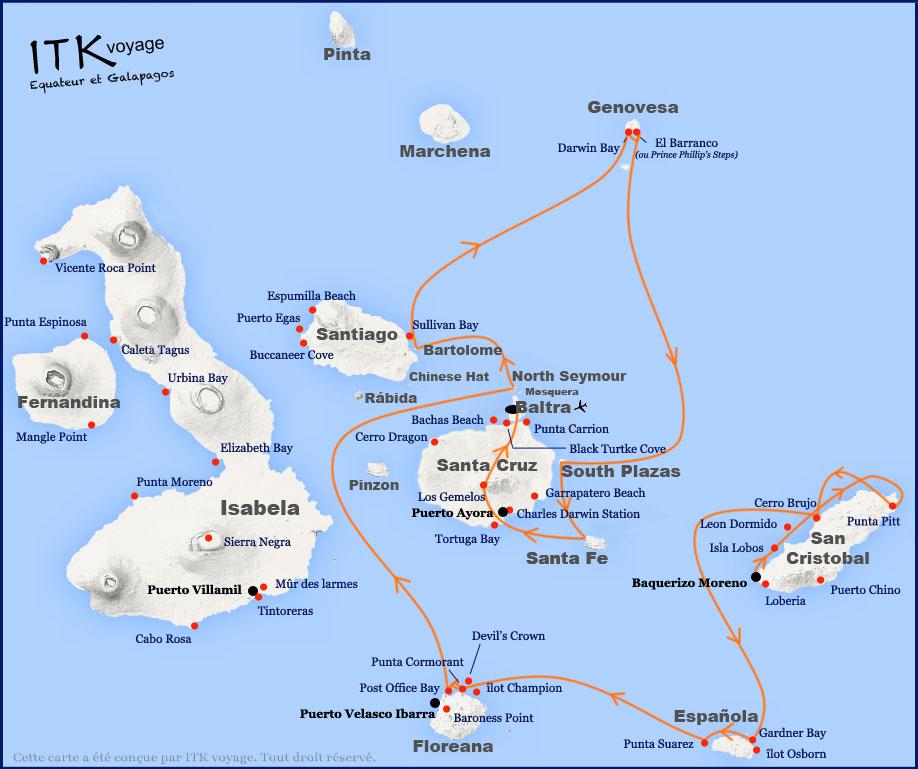 Croisière Stella Maris Galapagos, itinéraire 8 jours A