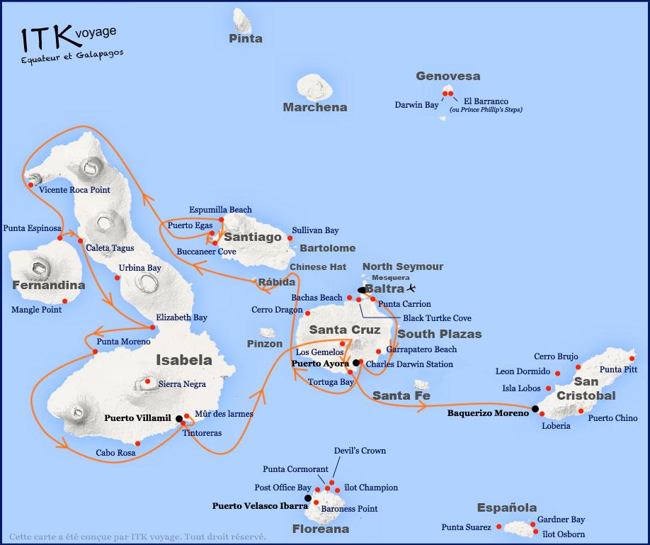 Croisière Stella Maris Galapagos, itinéraire 8 jours B