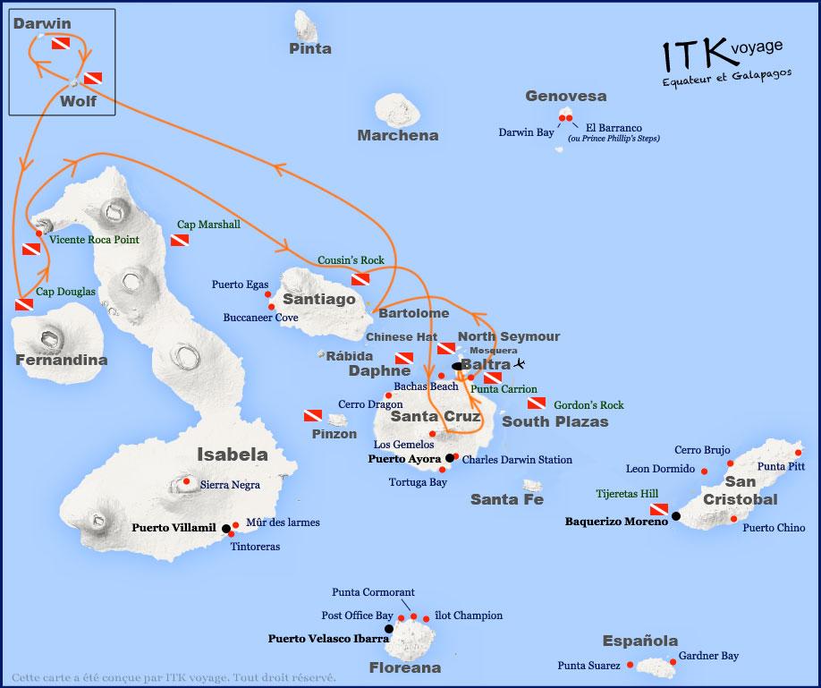 Croisière plongée Galapagos Aggressor, itinéraire 8 jours (juin à sept)