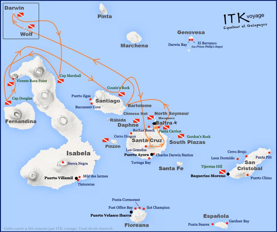 Croisière plongée Galapagos Aggressor, itinéraire 8 jours (janvier à mai)