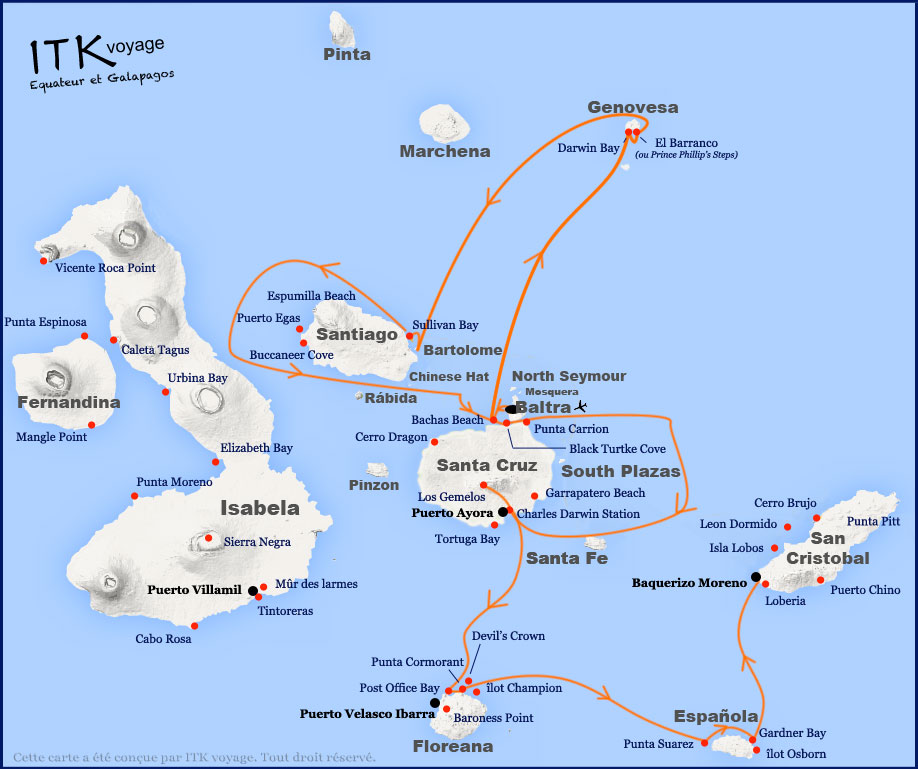 Croisière Galapagos Aida Maria, itinéraire 8 jours A