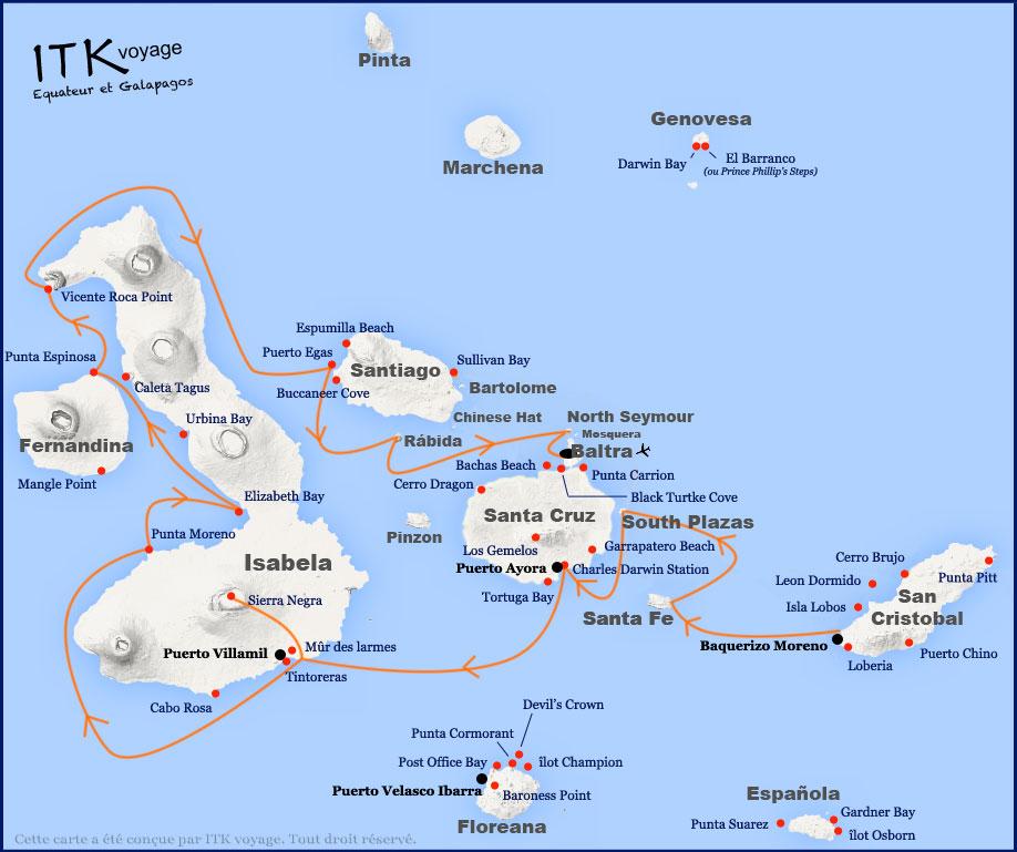 Croisière Galapagos Aida Maria, itinéraire 8 jours B