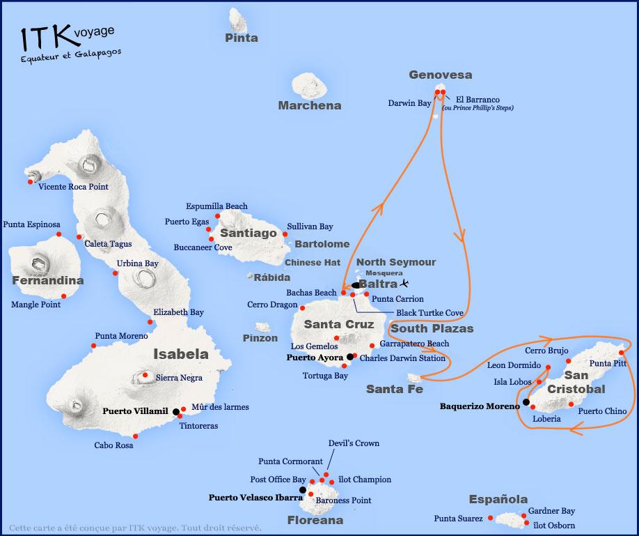 Croisière Galapagos Anahi Journey, itinéraire 5 jours