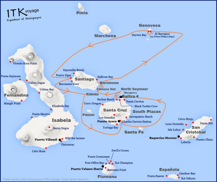 Croisière Galapagos Angelito, itinéraire 5 jours