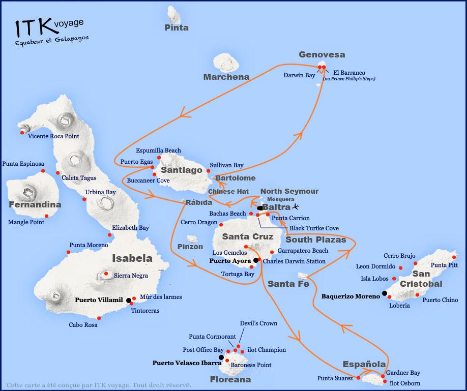 Croisière Galapagos Angelito, itinéraire 8 jours A