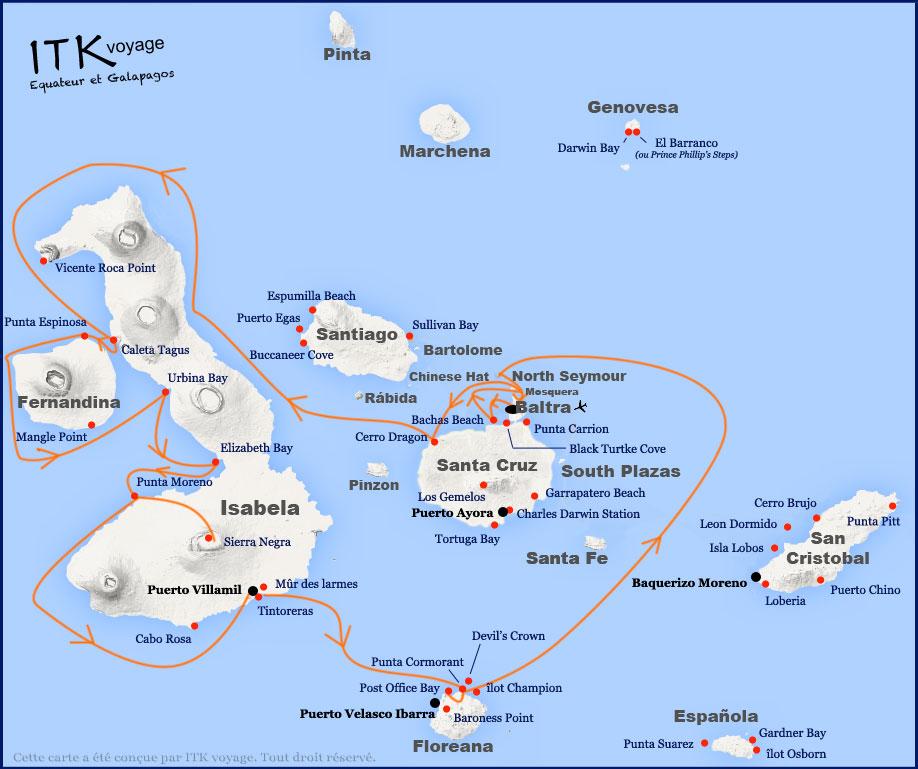 Croisière Galapagos Angelito, itinéraire 8 jours B