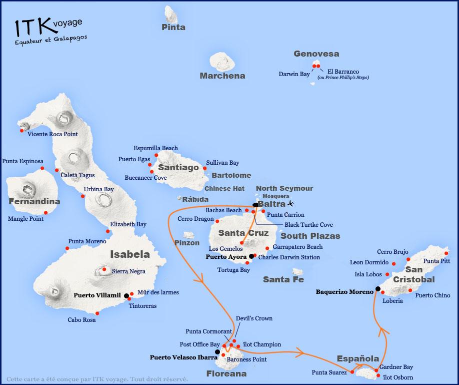 Croisière Galapagos Eden,itinéraire 4 jours