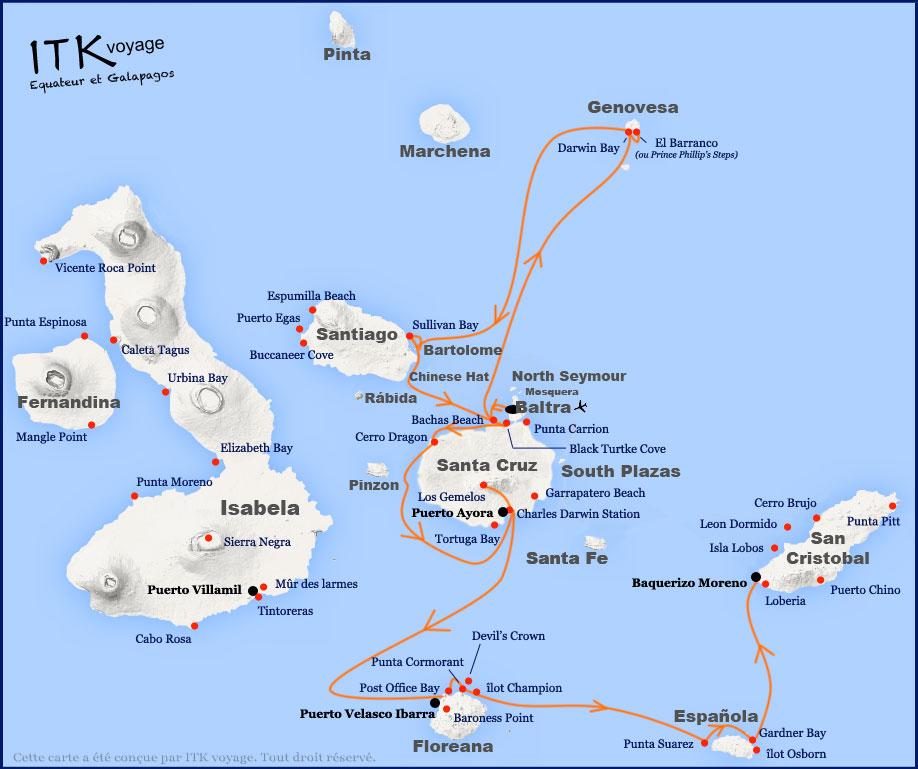 Croisière Galapagos Eden, itinéraire 8 jours A