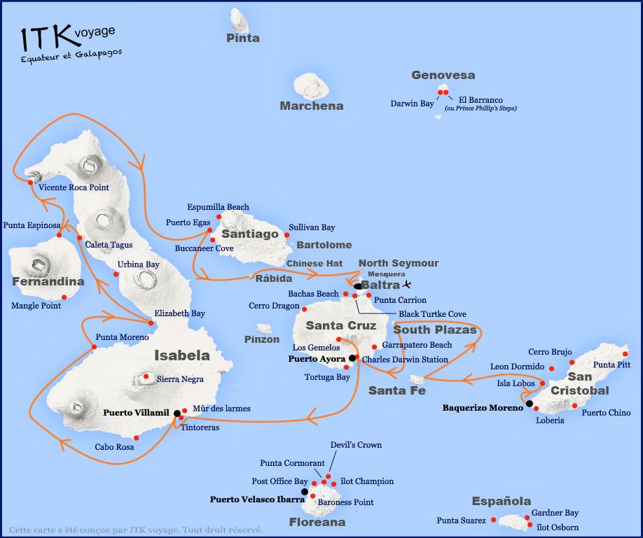 Croisière Galapagos Eden, itinéraire 8 jours B