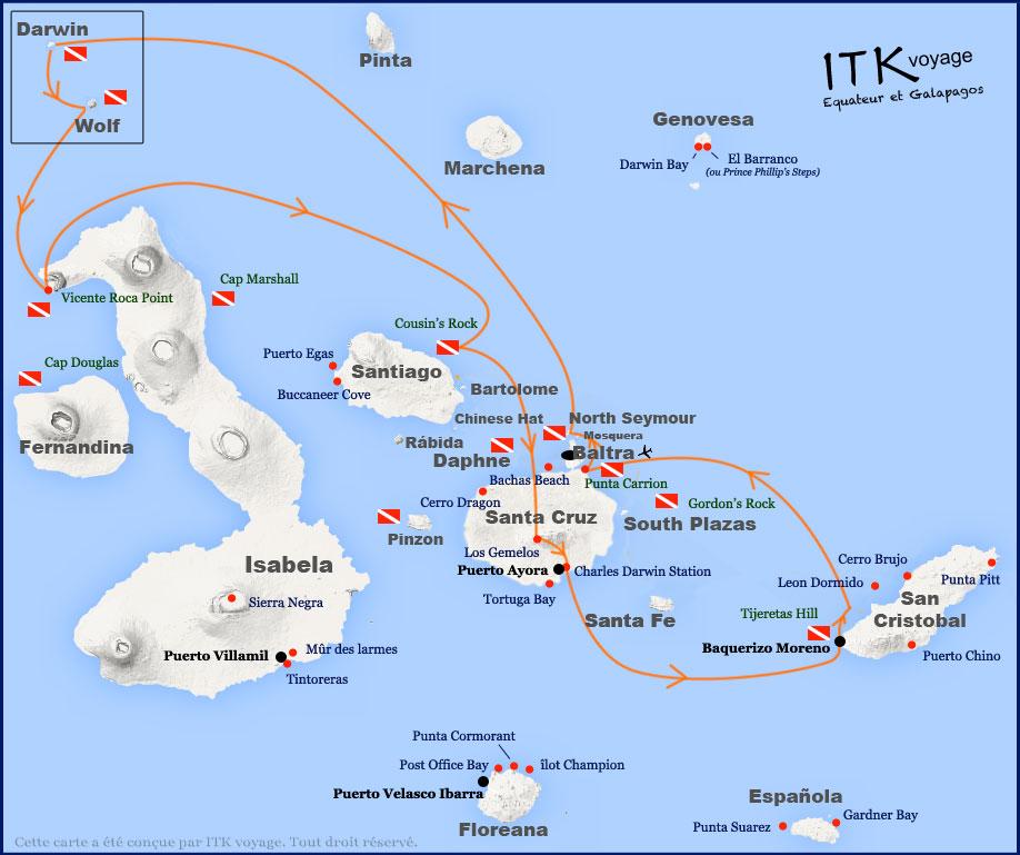 Croisière plongée Galapagos Master, itinéraire 8 jours