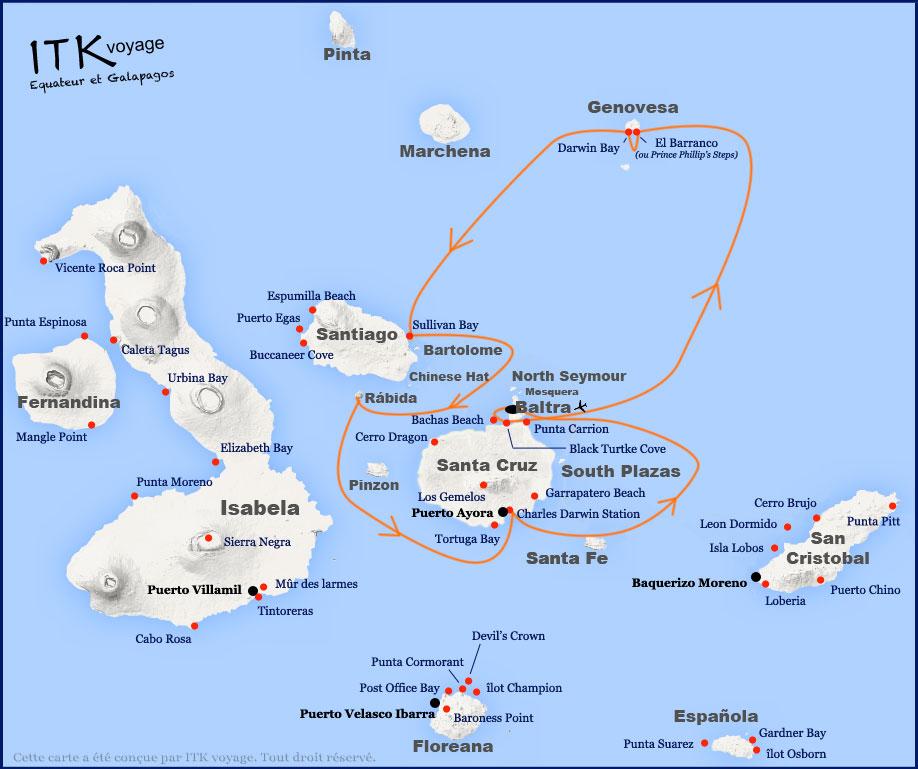 Croisière Galapagos Galaven, itinéraire 4 jours