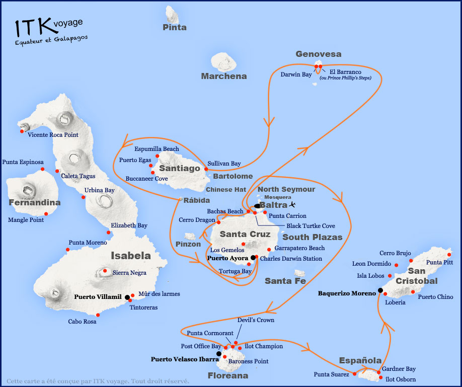 Croisière Galapagos Galaven, itinéraire 8 jours A