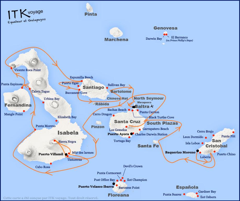 Croisière Galapagos Galaven, itinéraire 8 jours B