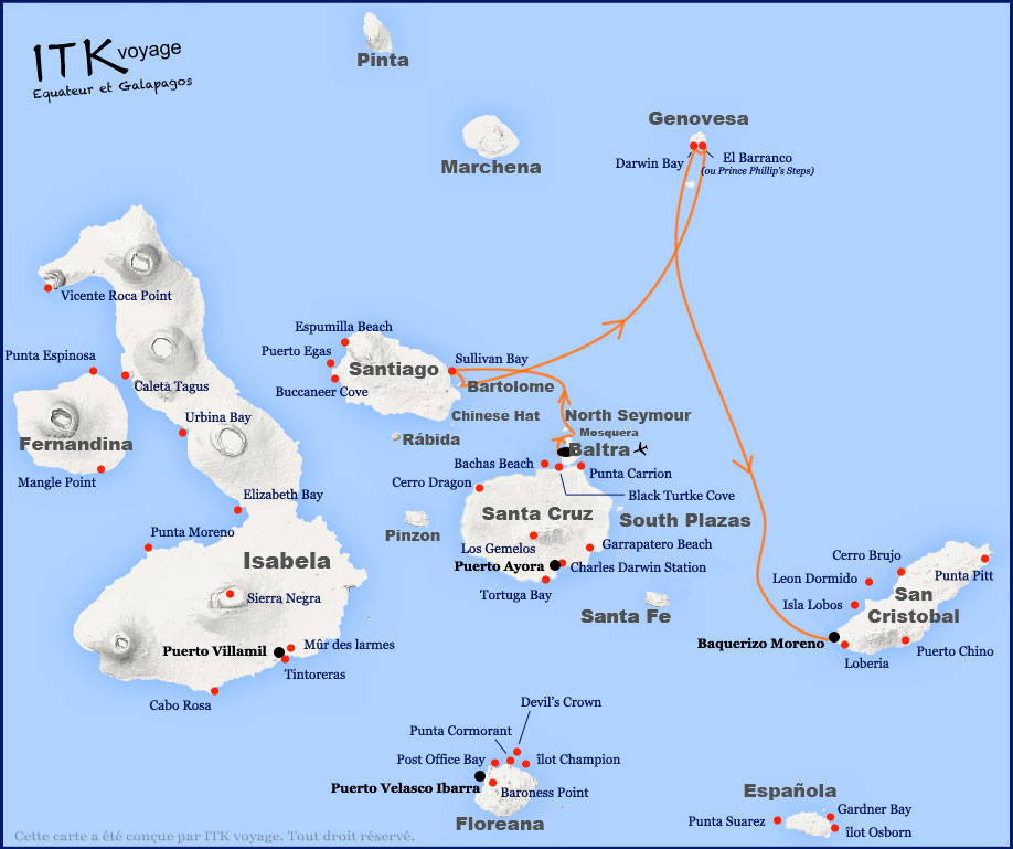 Croisière Galapagos Galaxy, itinéraire 4 jours