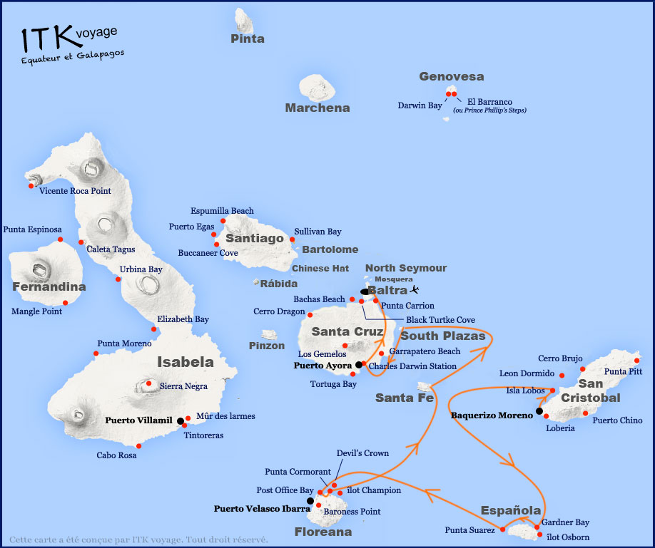 Croisière Galapagos Galaxy, itinéraire 5 jours A