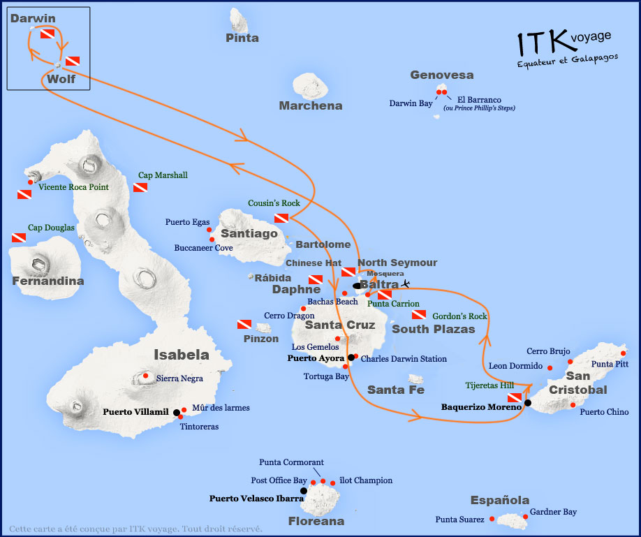 Croisière plongée Galapagos Humboldt, itinéraire 8 jours