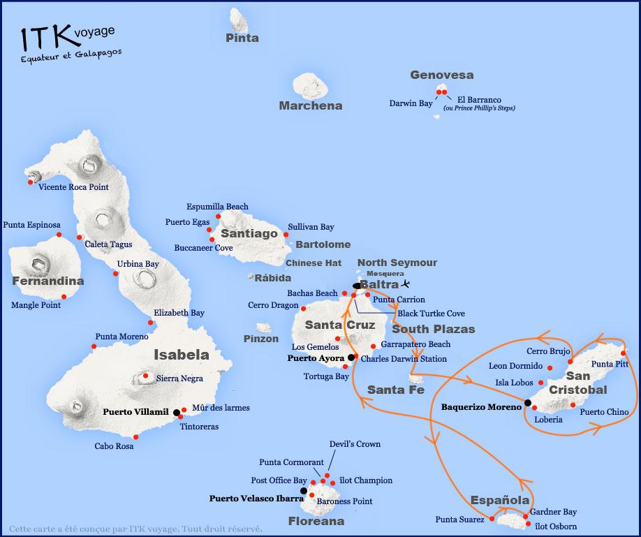 Croisière La Pinta Galapagos, itinéraire 5 jours Est