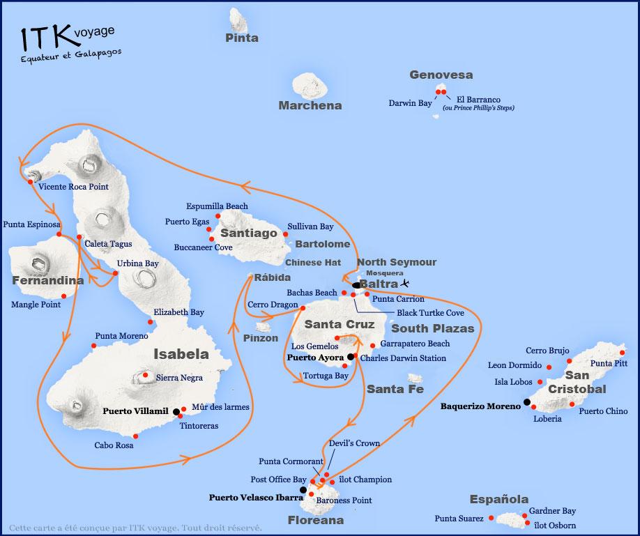 Croisière La Pinta Galapagos, itinéraire 7 jours