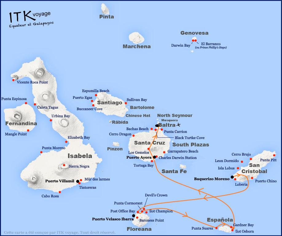 Croisière Galapagos Majestic, itinéraire 4 jours