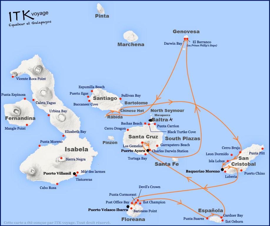 Croisière Galapagos Majestic, itinéraire 8 jours A