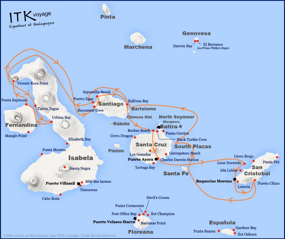 Croisière Galapagos Majestic, itinéraire 8 jours B