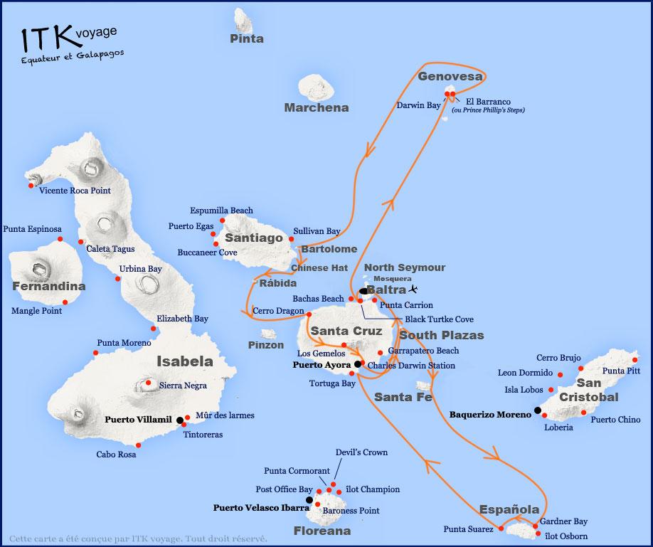 Croisière Mary Anne Galapagos, itinéraire 8 jours Est