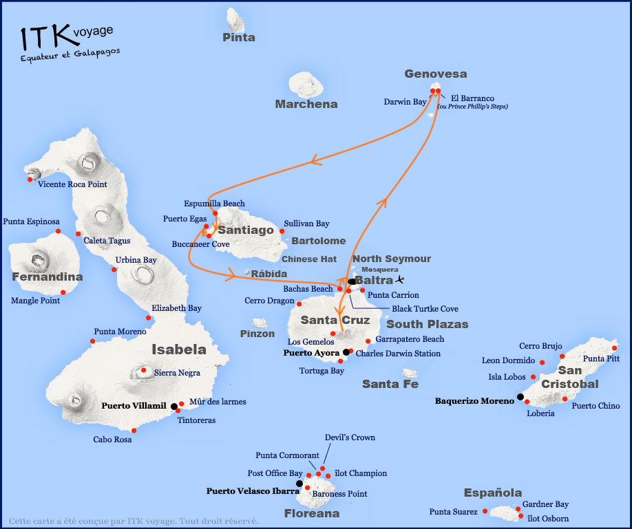 Croisière Natural Paradise Galapagos, itinéraire 4 jours