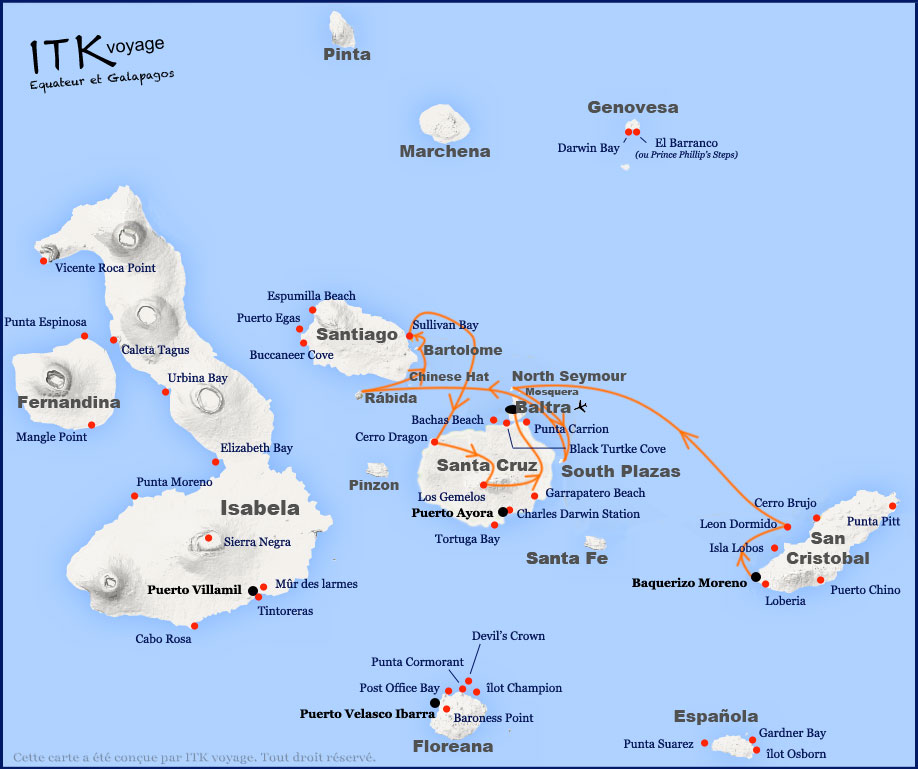 Croisière Natural Paradise Galapagos, itinéraire 5 jours