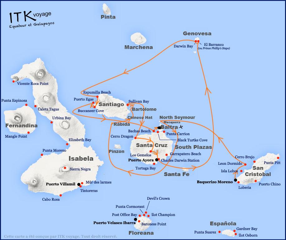 Croisière Natural Paradise Galapagos, itinéraire 8 jours A