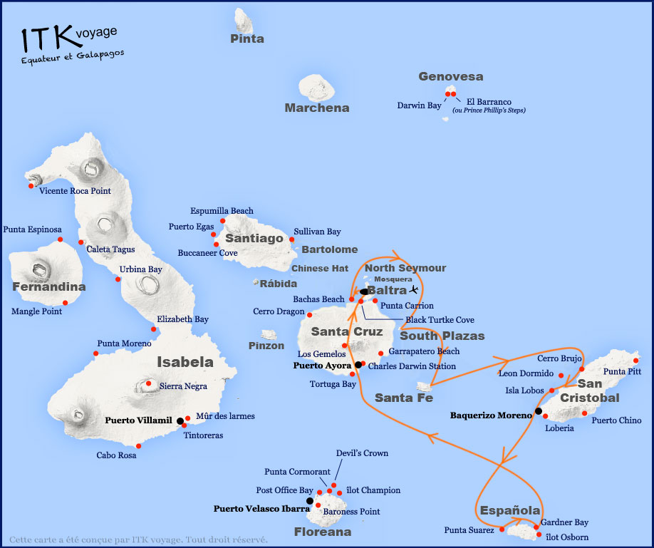Croisière Galapagos Nemo II, itinéraire 5 jours
