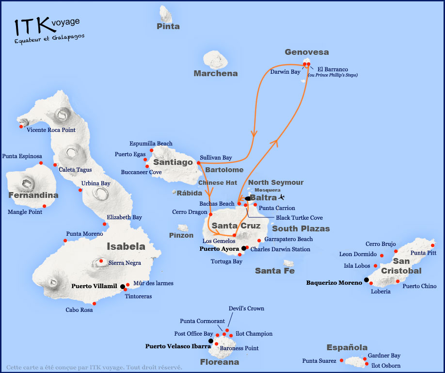 Croisière Galapagos Nemo III, itinéraire 4 jours A