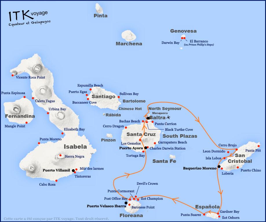 Croisière Galapagos Nemo III, itinéraire 5 jours B