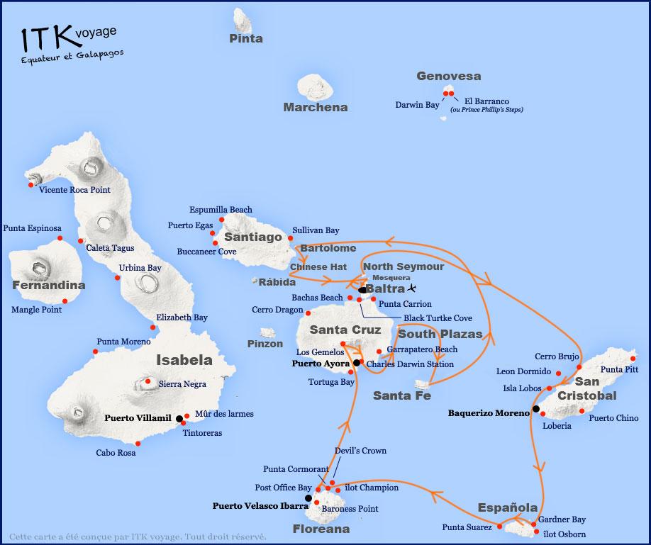 Croisière Galapagos Nemo III, itinéraire 8 jours B