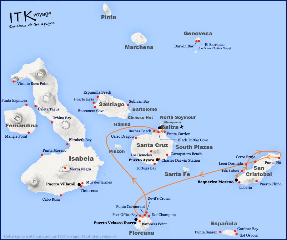 Croisière Ocean Spray Galapagos, itinéraire 4 jours