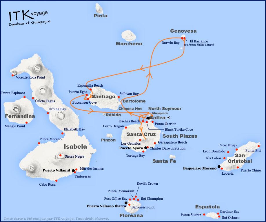 Itinéraire 5 jours de l'Ocean Spray aux Galapagos