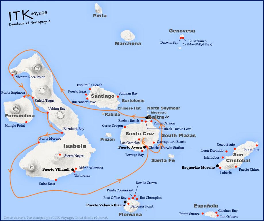 Itinéraire 6 jours A de l'Ocean Spray aux Galapagos