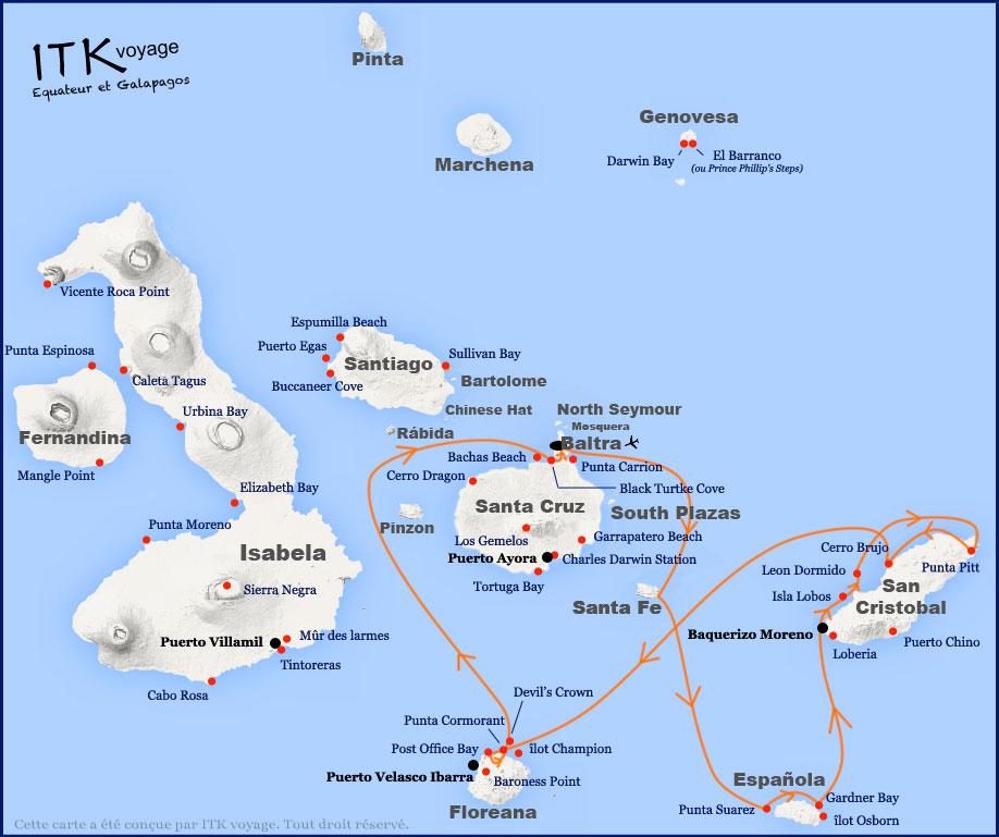 Itinéraire 6 jours B de l'Ocean Spray aux Galapagos