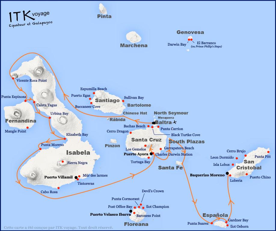 Itinéraire 8 jours A de l'Ocean Spray aux Galapagos