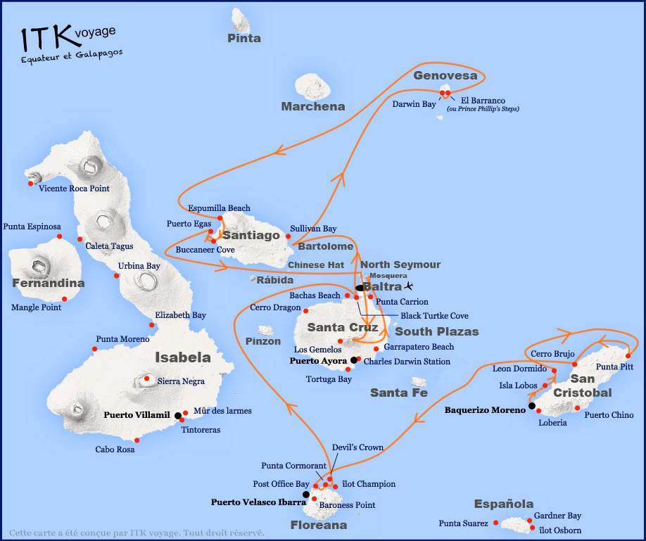 Itinéraire 8 jours B de l'Ocean Spray aux Galapagos