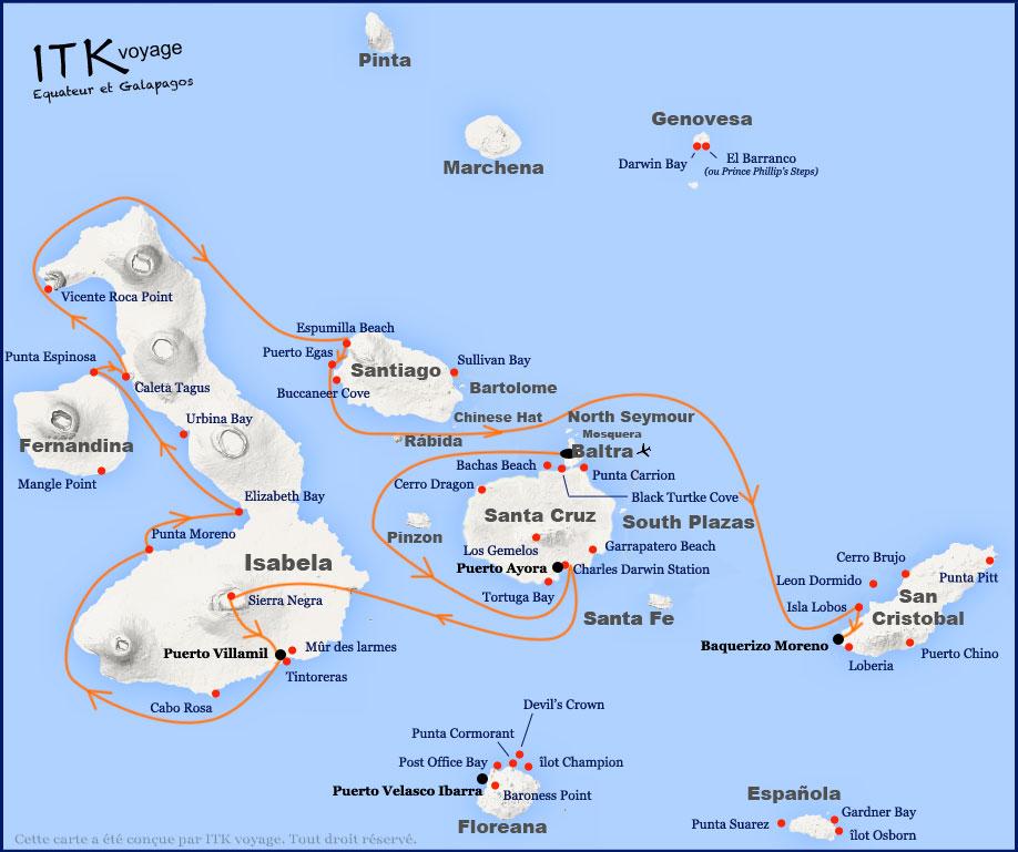 Croisière Galapagos Odyssey, itinéraire 6 jours C