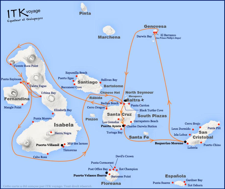 Croisière Origin Galapagos, itinéraire 8 jours B
