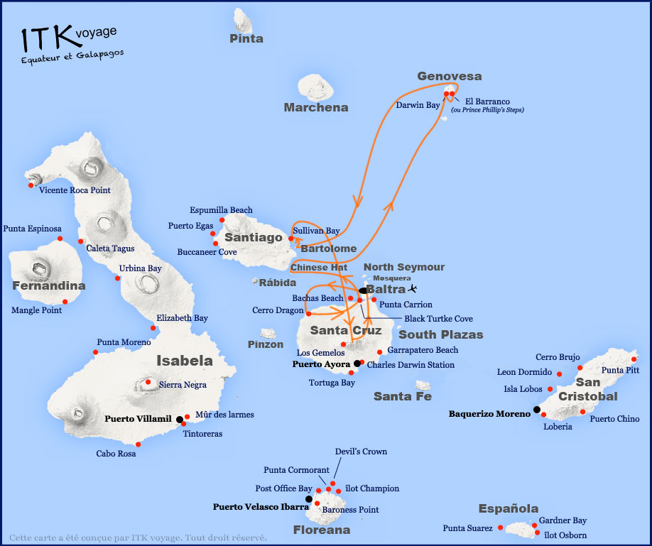Croisière Sea Star Galapagos, itinéraire 5 jours B