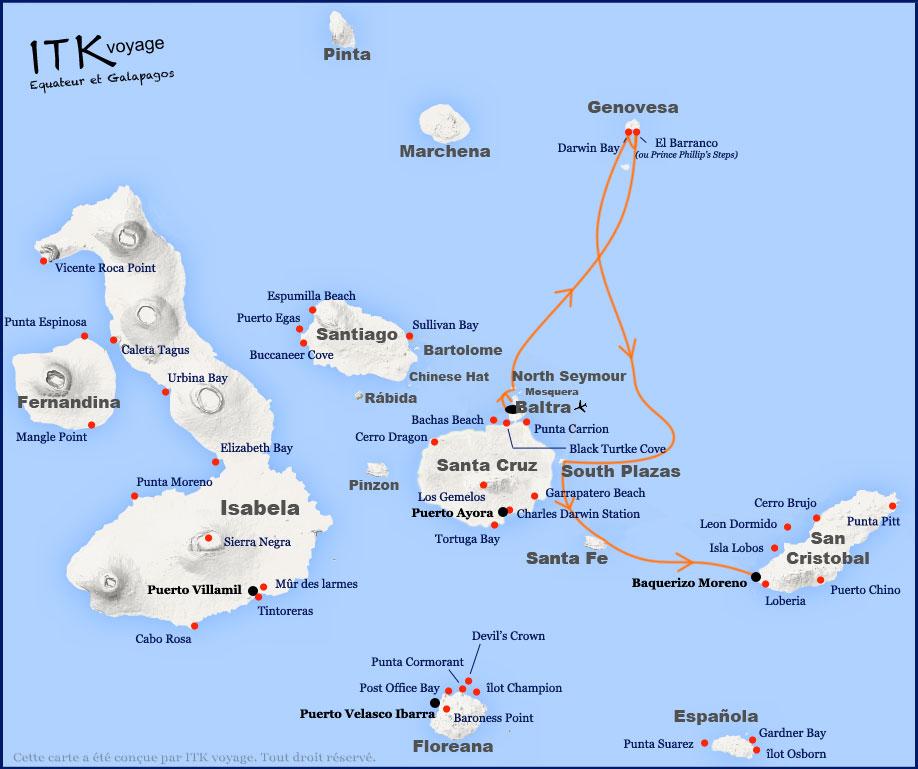 Croisière Seaman Journey Galapagos, itinéraire 4 jours